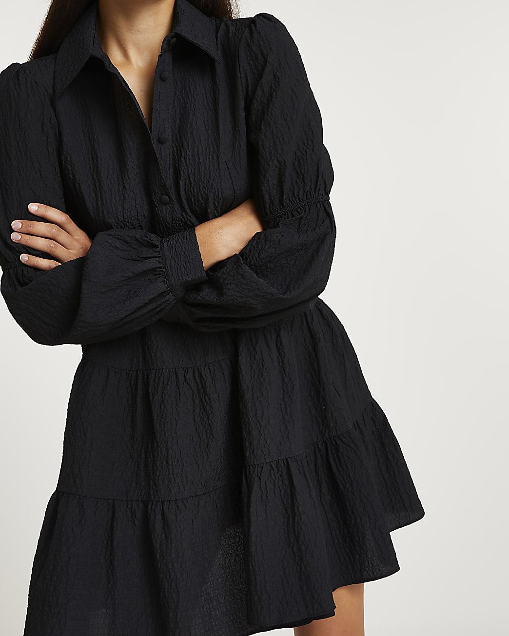 Black tiered mini shirt dress