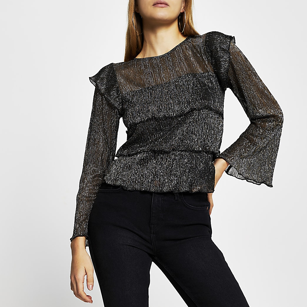 Black Tiered Plisse Layered Top