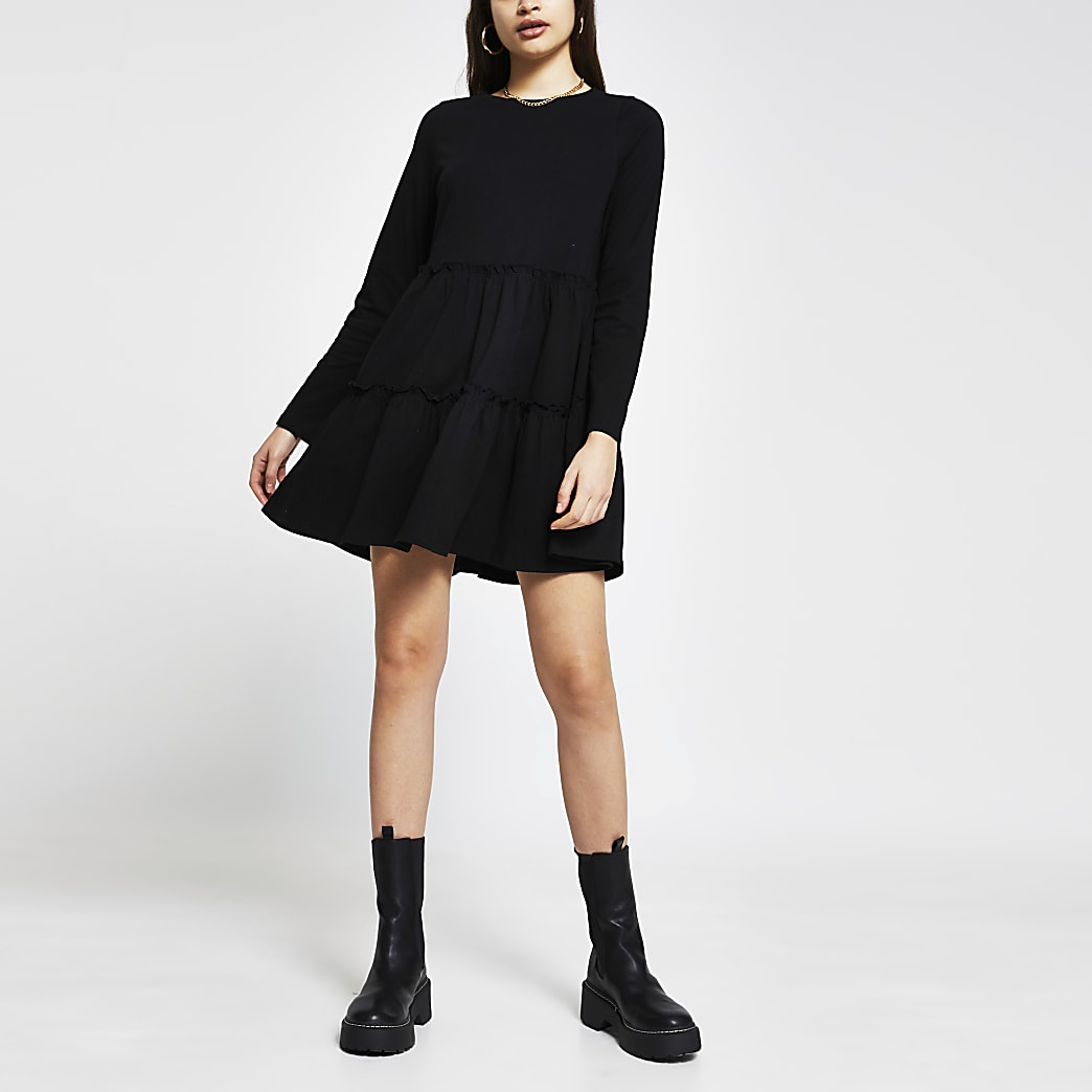 Black tiered smock long sleeve mini dress