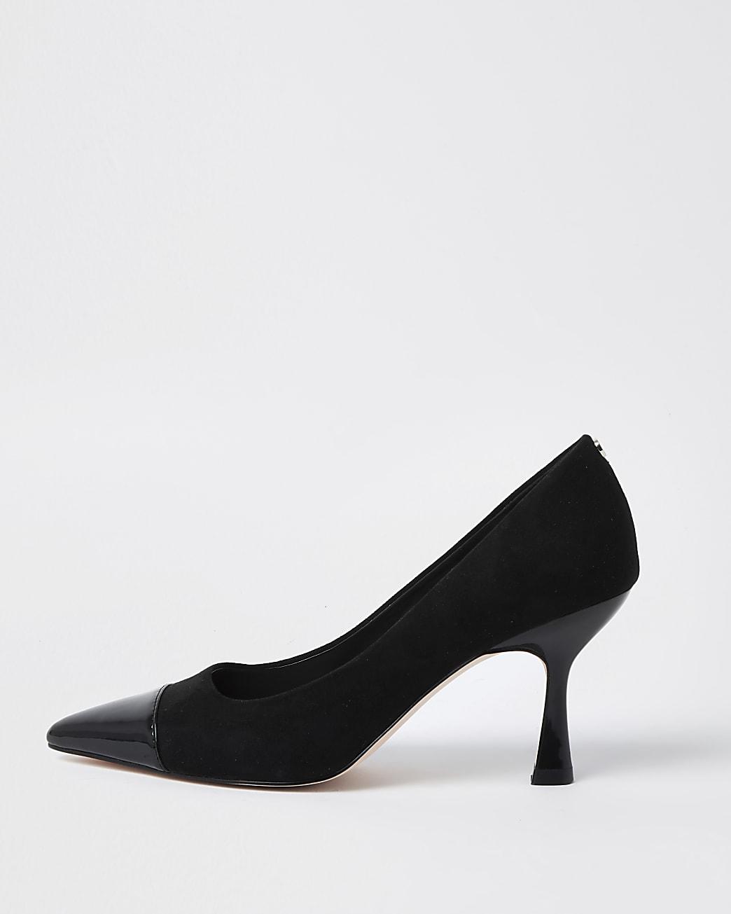 Black toe cap mid court heels