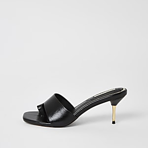 Sandales mule noires à talon