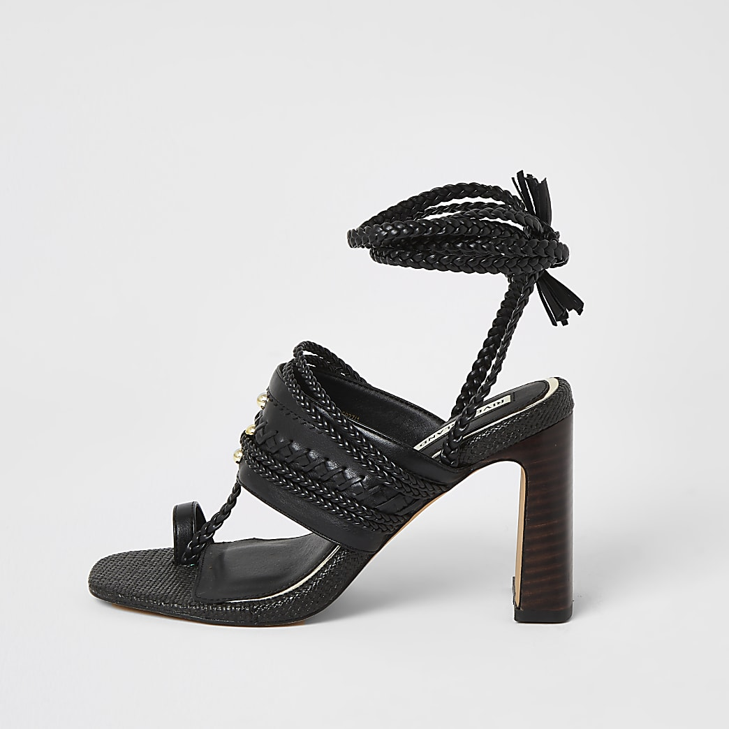 Black toe loop plaited lace-up ankle heels