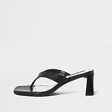 Black toe post block heel sandals