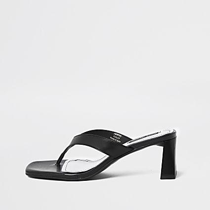 Black toe post block heel sandals