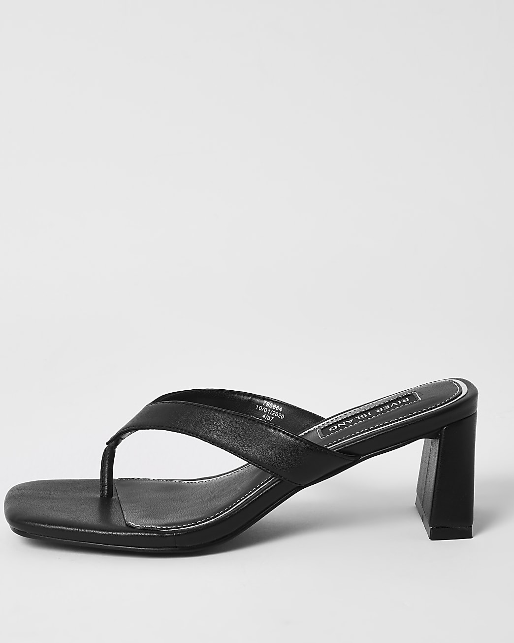 Black toe thong block heel sandals