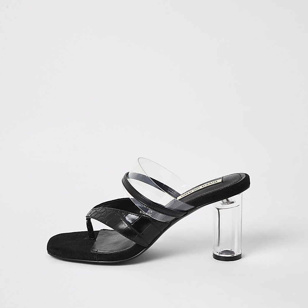 Black toe thong perspex mule sandals