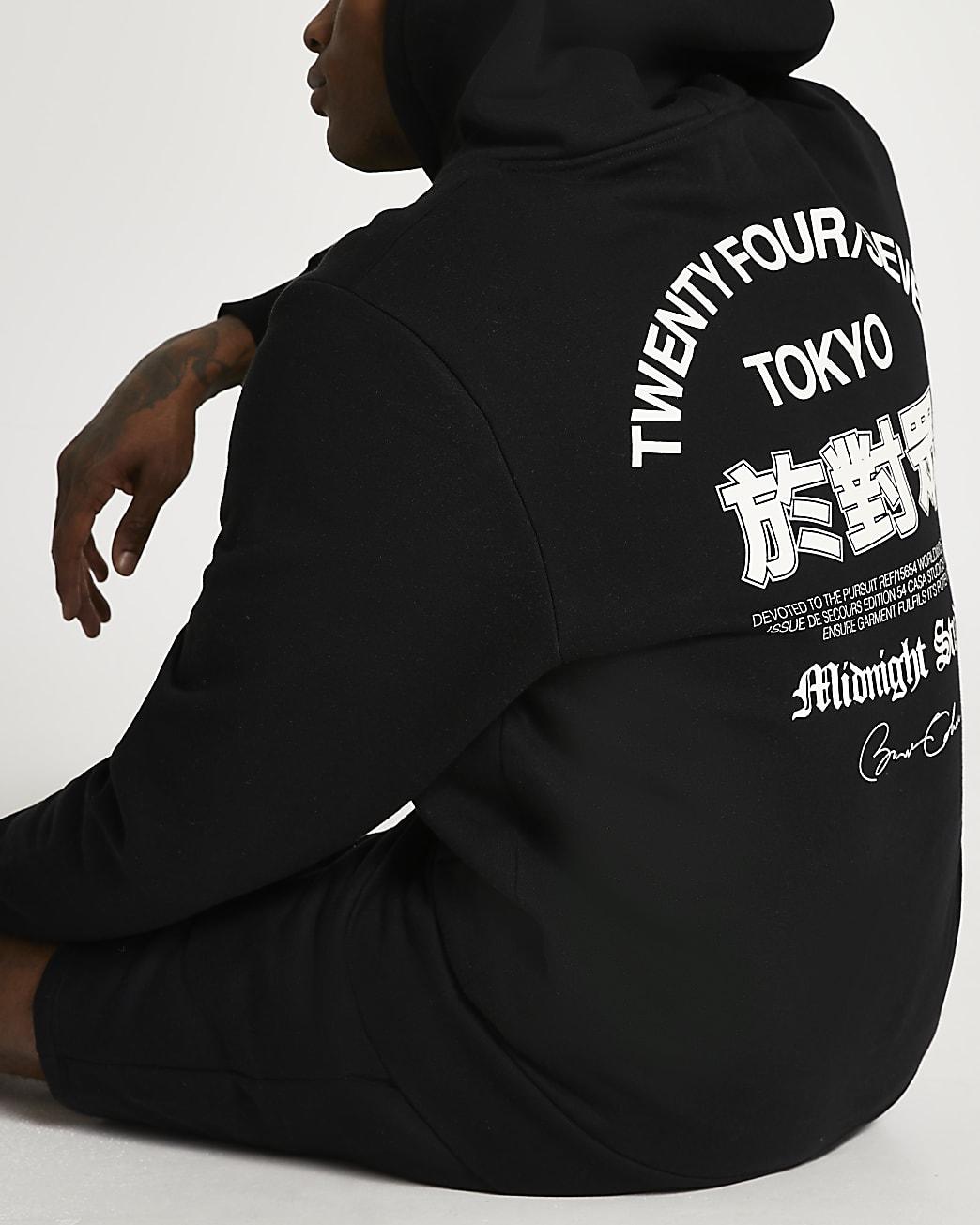 Black Tokyo back print hoodie