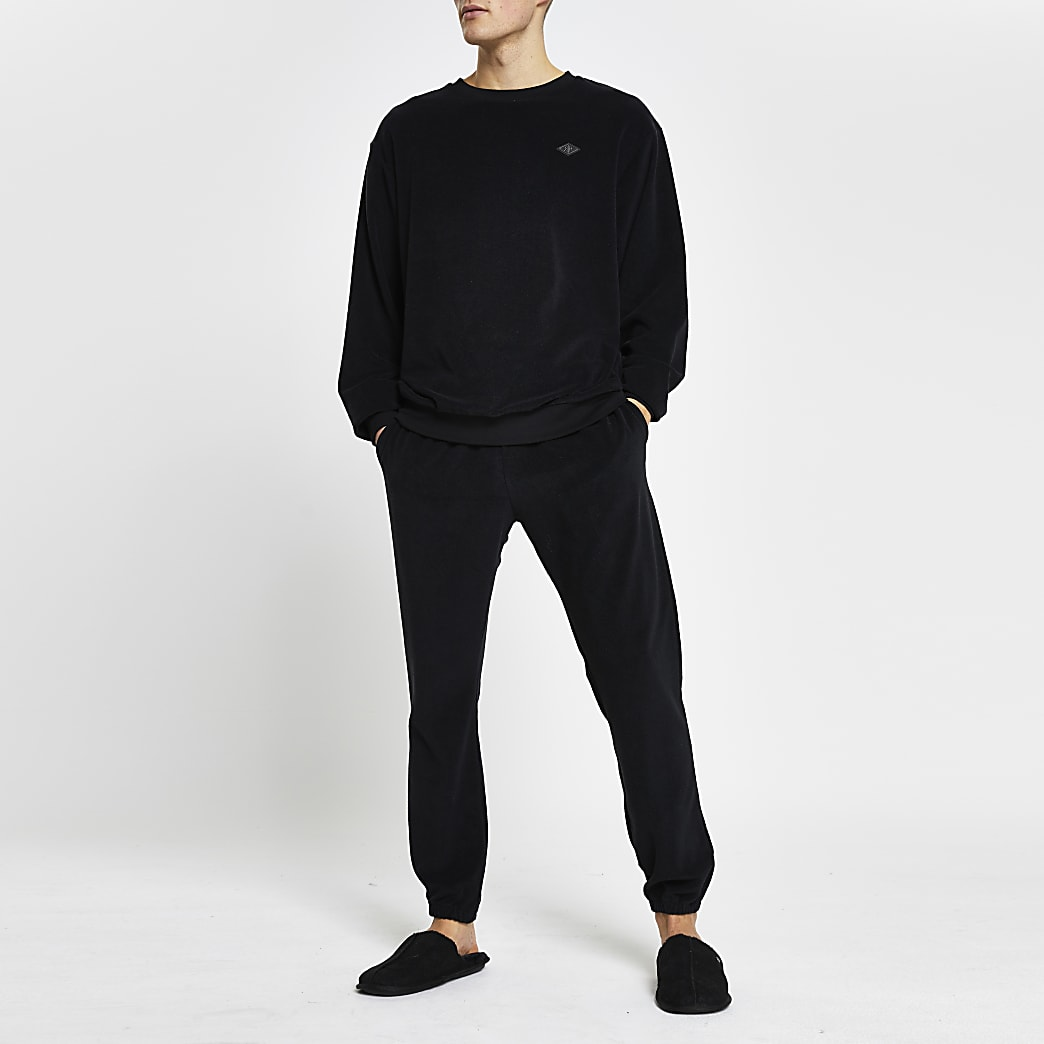 Black toweling joggers
