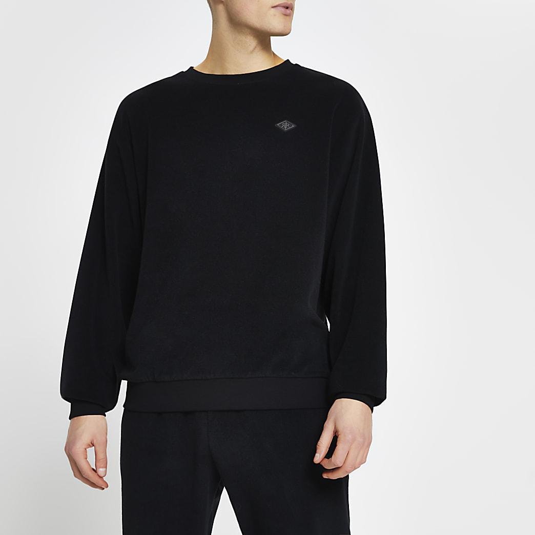 Black toweling long sleeve sweatshirt