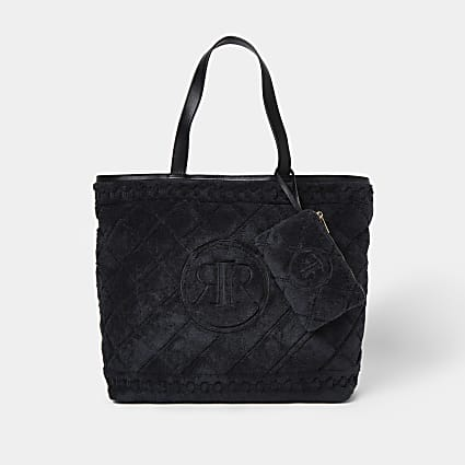 Black towelling detail shopper bag