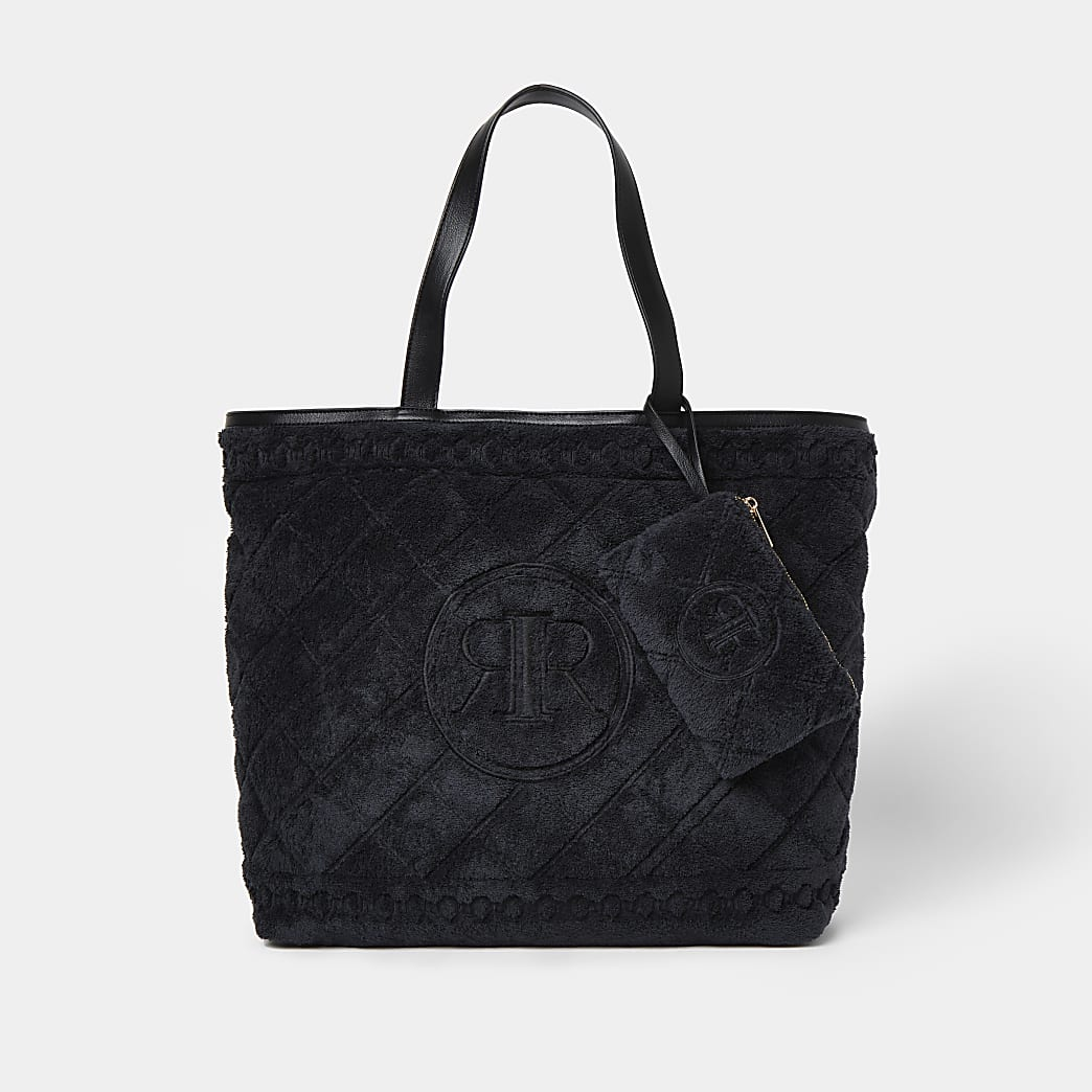 Black towelling detail shopper bag