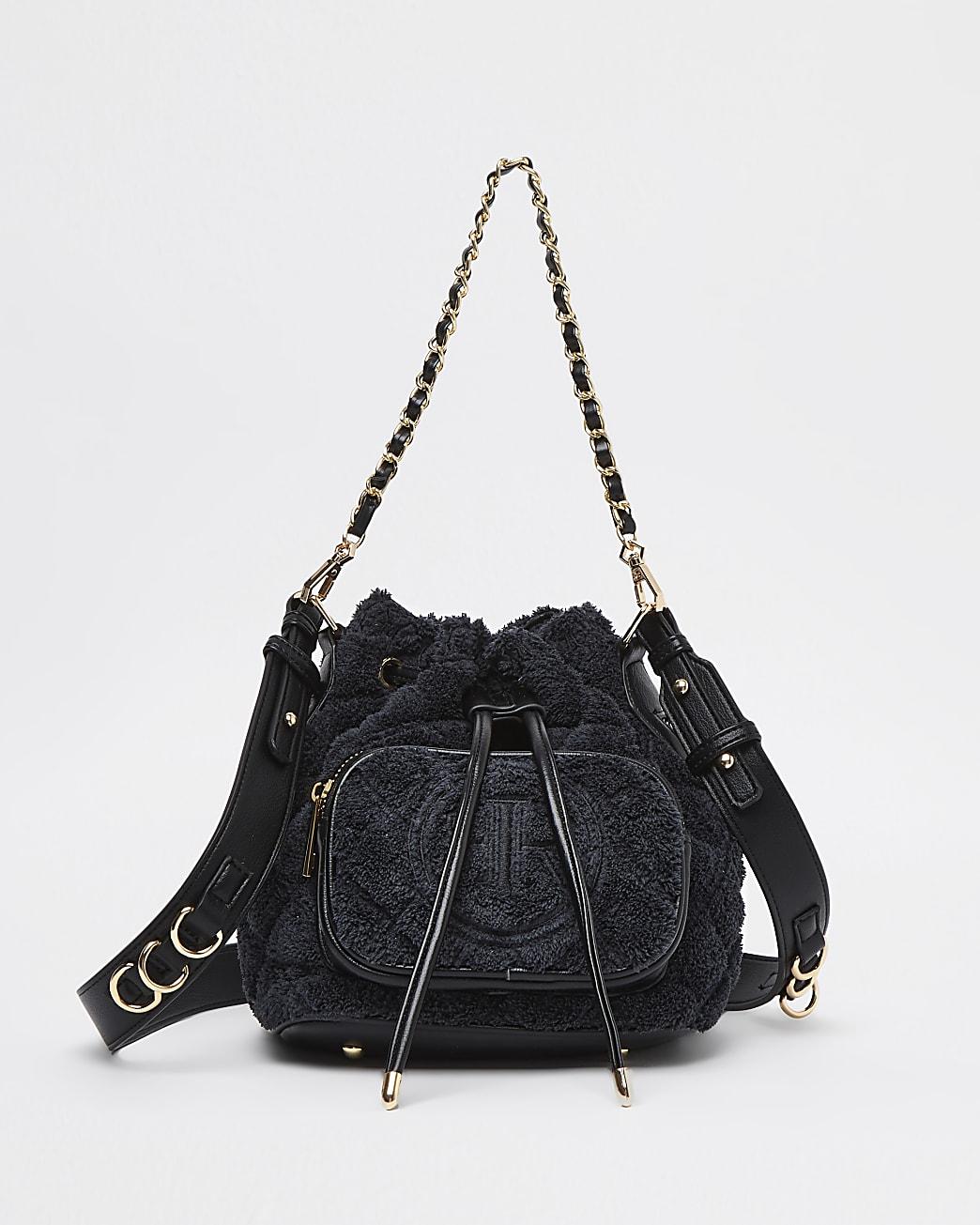 Black towelling duffle bag
