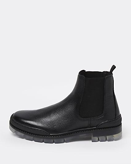 Black transparent sole Chelsea boots