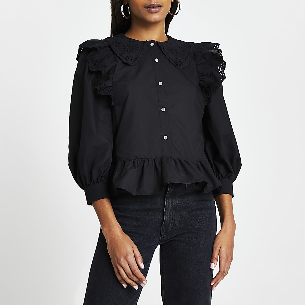 Black trim collar peplum shirt