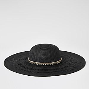Chapeau mou en paille noir