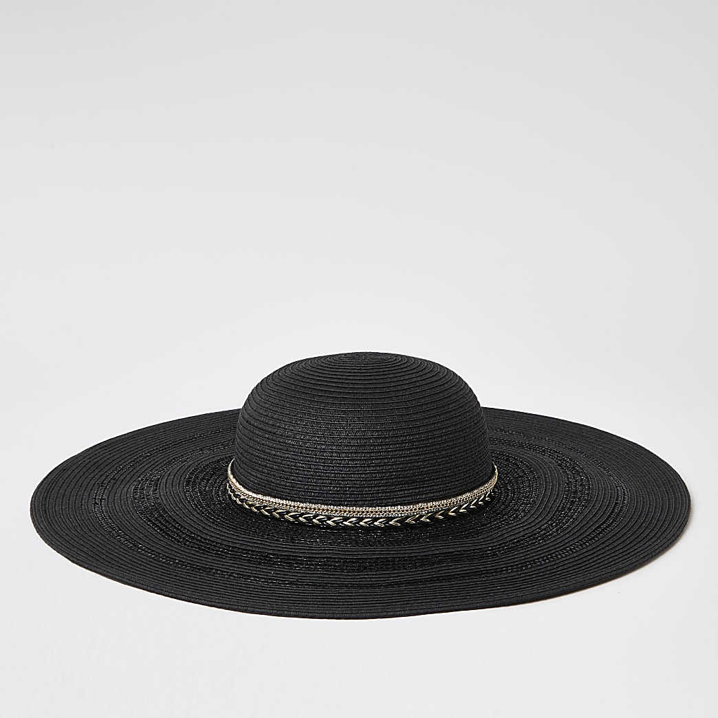 Black trim floppy straw hat