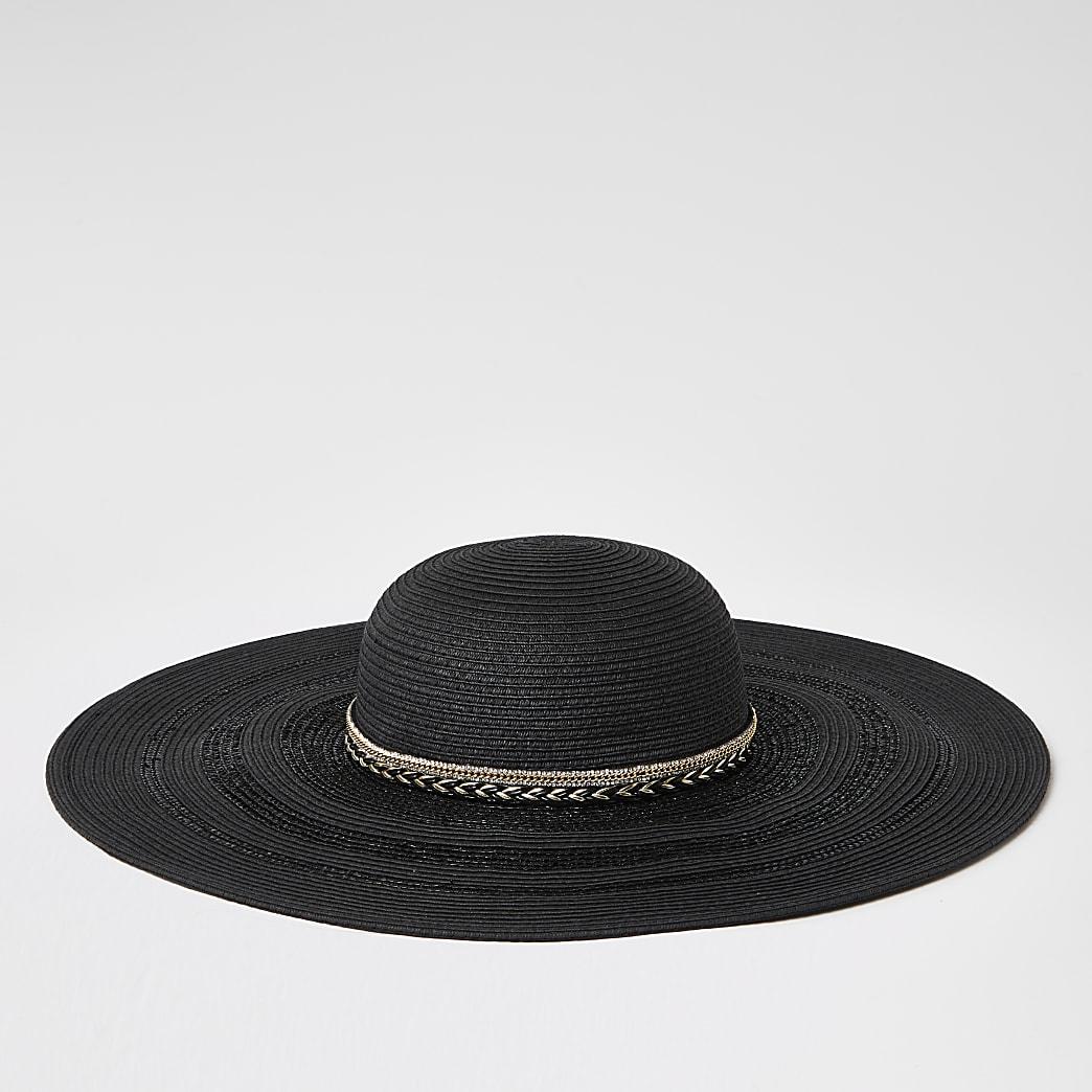 Schwarzer Schlapphut aus Stroh