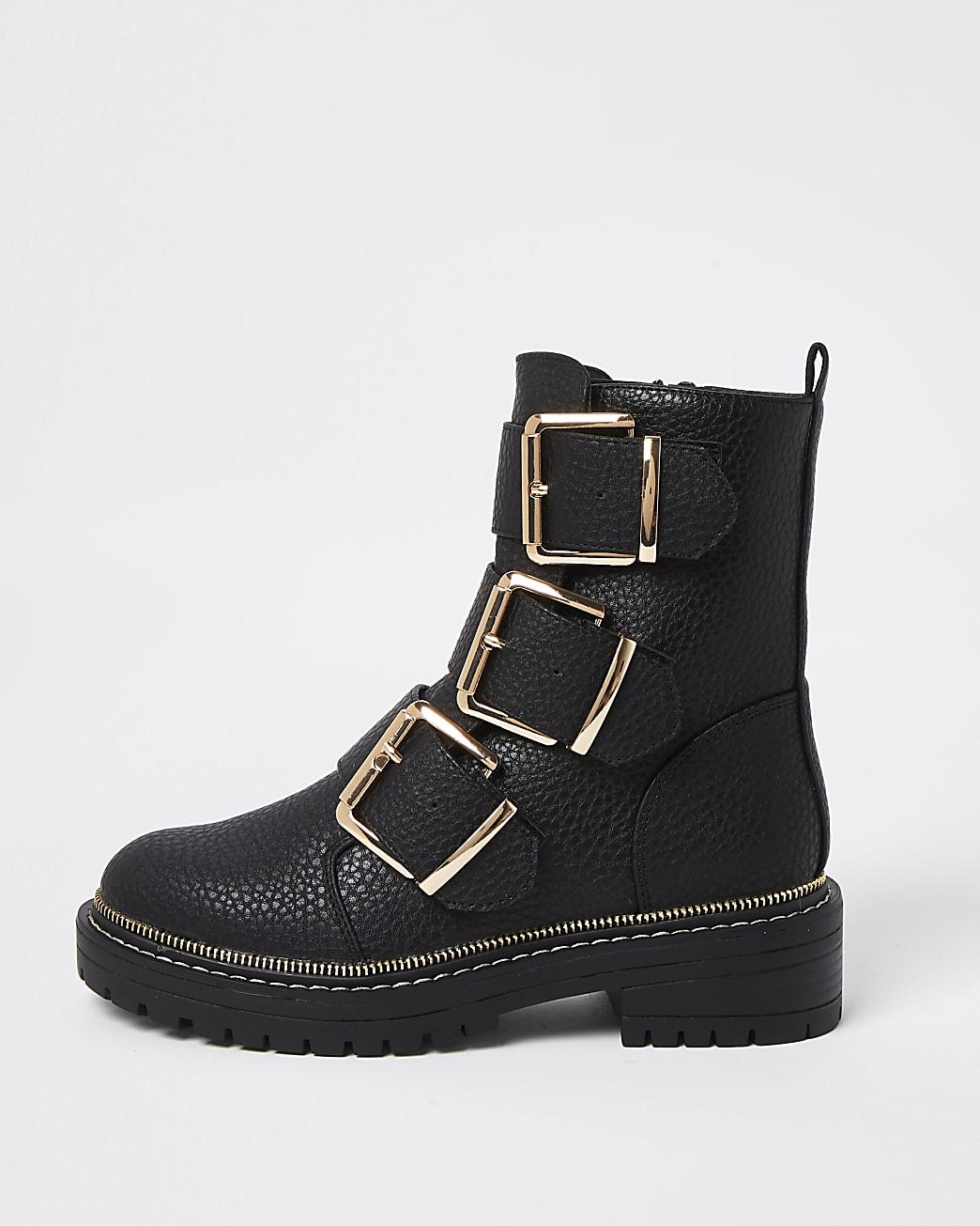 Black triple buckle biker boots