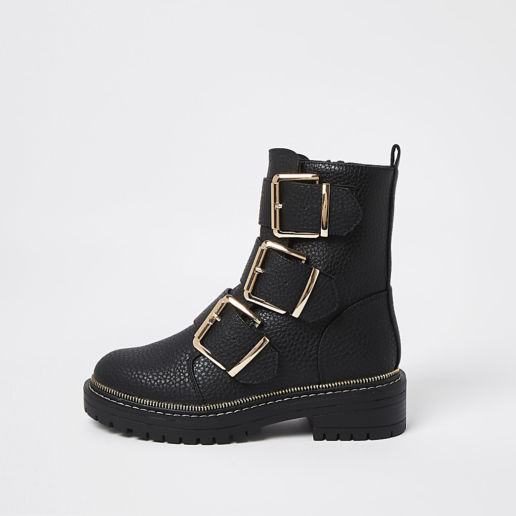 Black triple buckle high boots