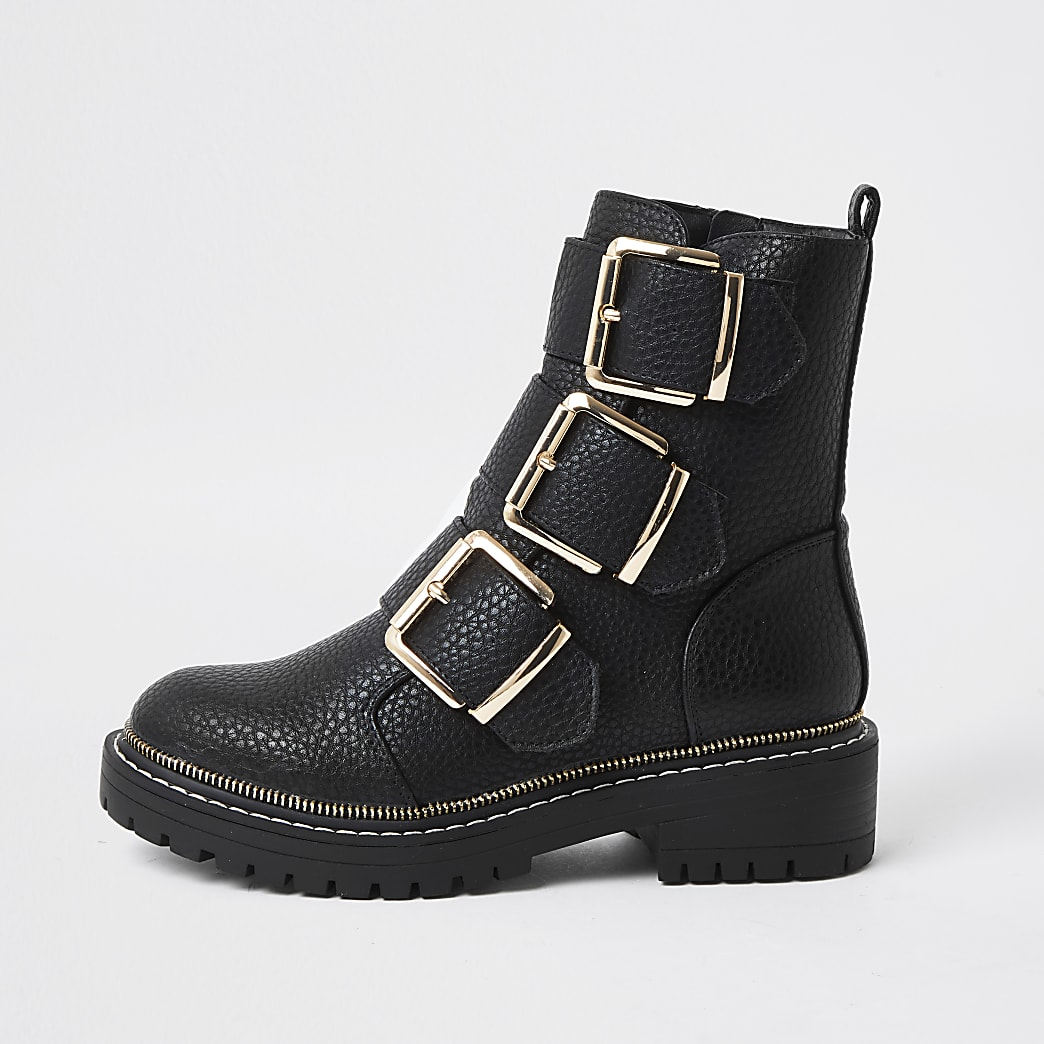 Black triple buckle high boots