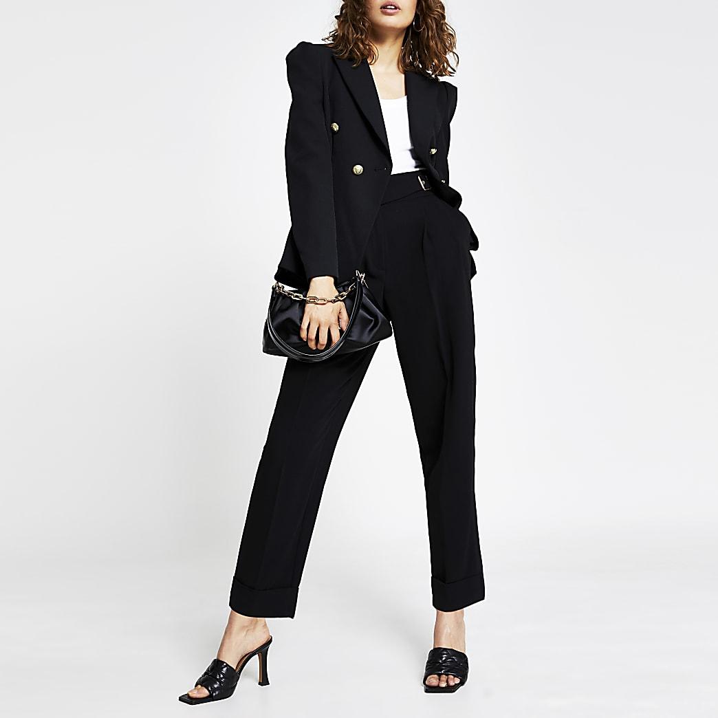 Black tuck waist gold button blazer