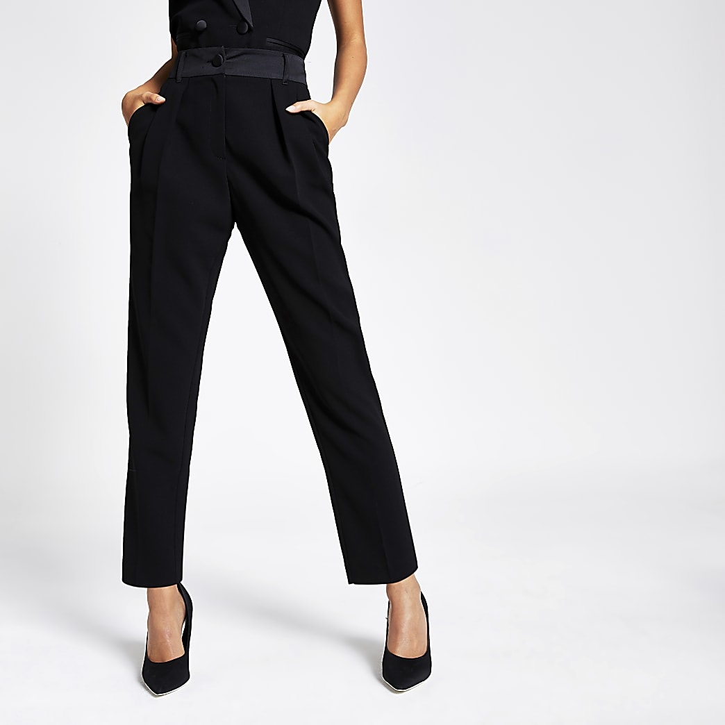 Black tux high waisted peg trousers