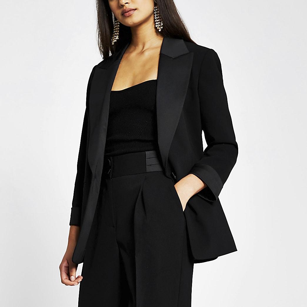 Black tux satin contrast blazer