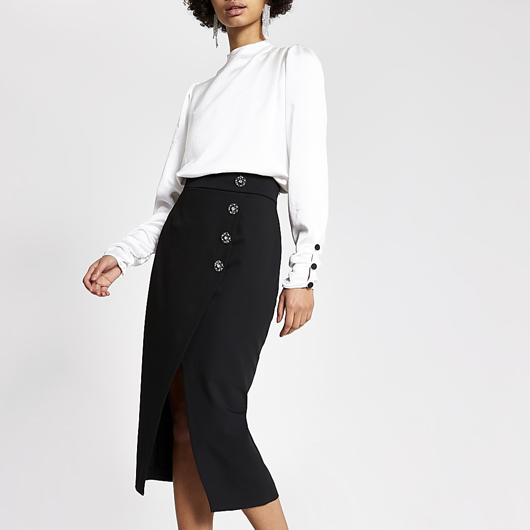 Black tux wrap pencil skirt