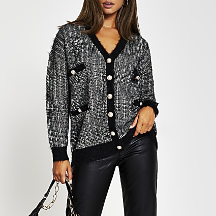 Black tweed check cardi