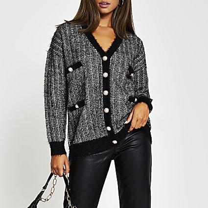 Black tweed check cardigan