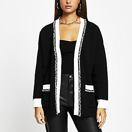 Black tweed long sleeve cardigan