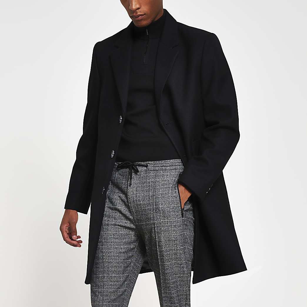 Black twill overcoat