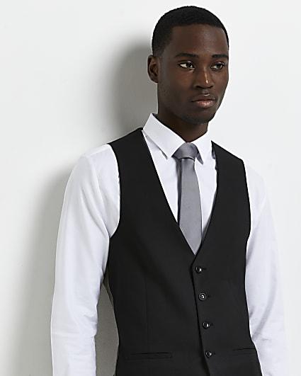 Black twill suit waistcoat