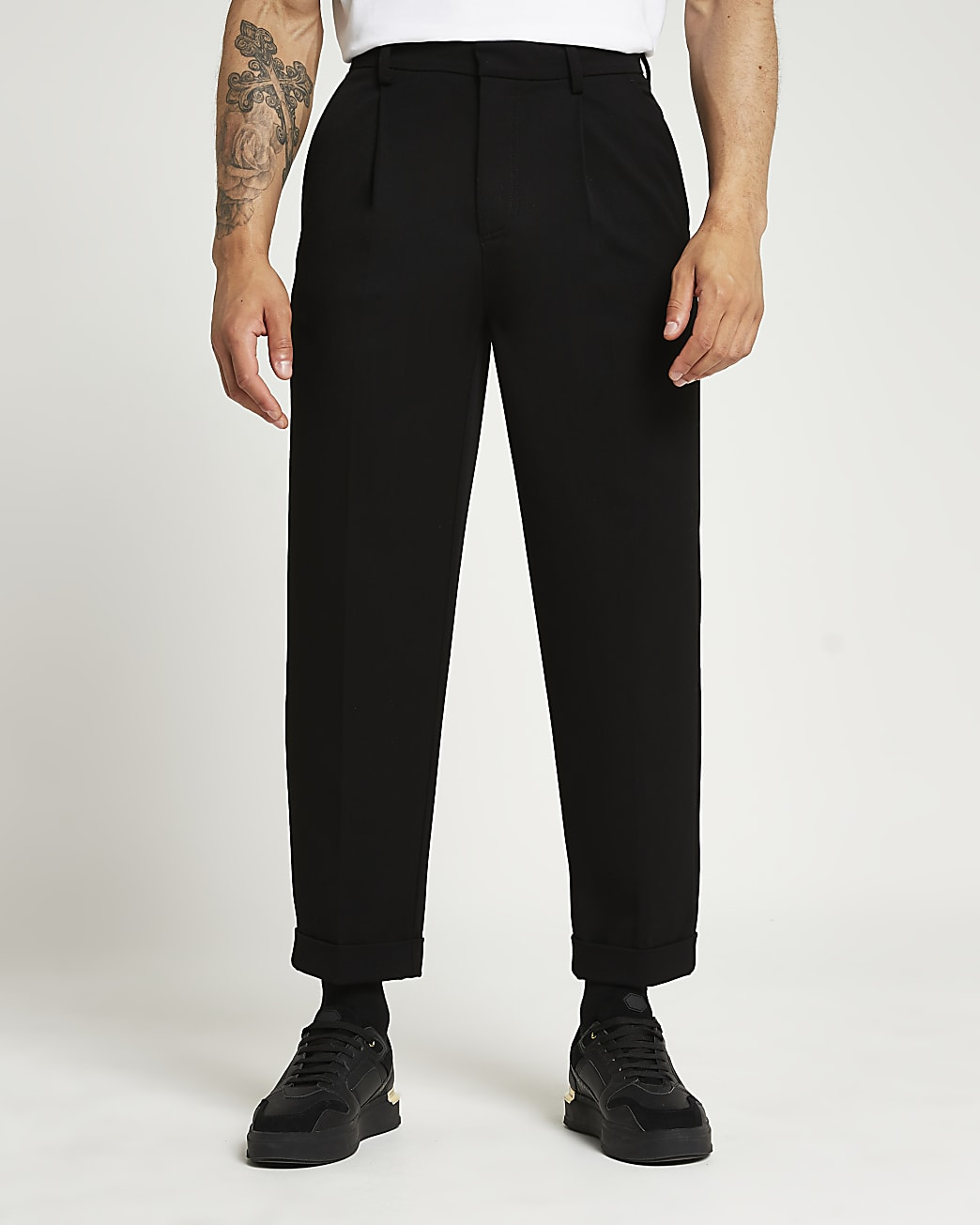 Black twill tapered fit trousers
