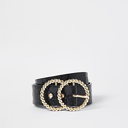 Black Twist double ring embossed belt