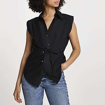 Black twist front shirt