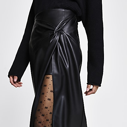 Black twist front wrap midi skirt