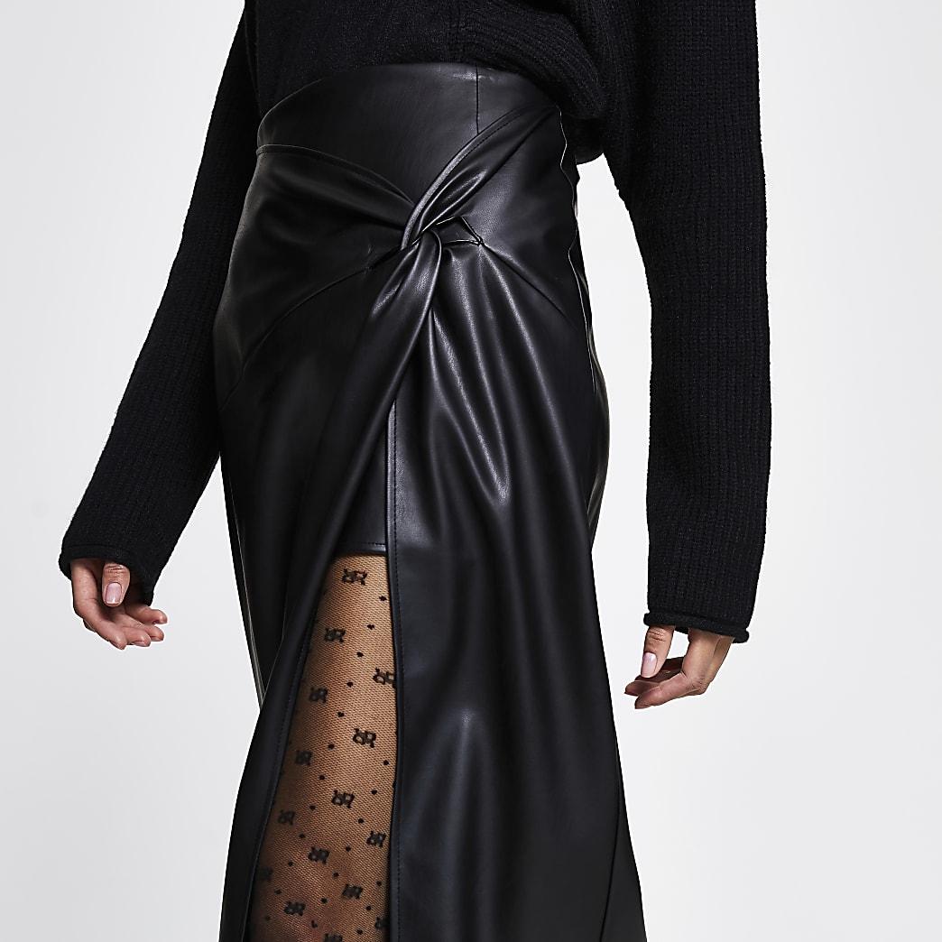 Black twist front wrap midi skirt