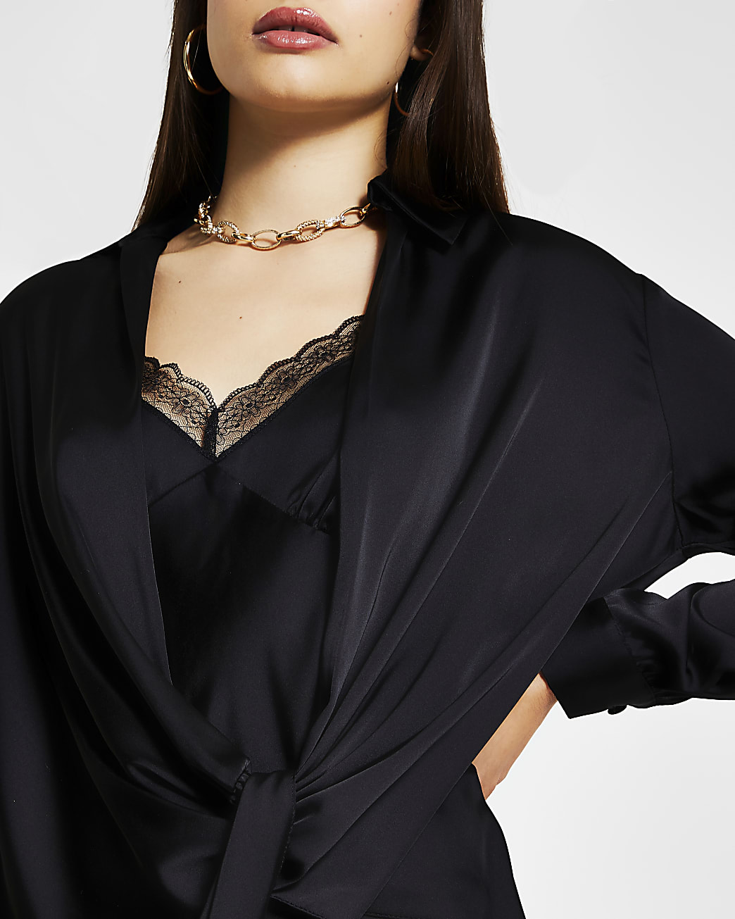 Black two in one lace cami shirt