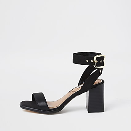 Black two part block heel sandal