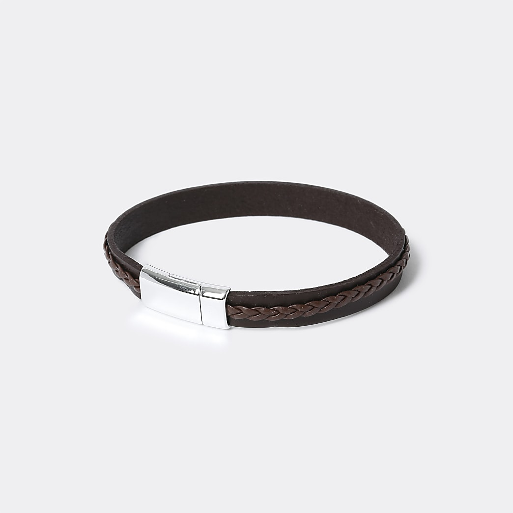 Black two row leather bracelet