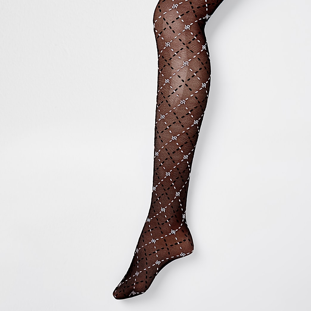 Black two tone RIR monogram sheer tights