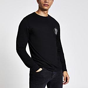 Zwart slim-fit T-shirt met lange mouwen en 'Unkwn States'-tekst