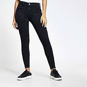 Amelie – Jean skinny utilitaire à taille mi-haute noire