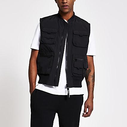 Black utility pocket bomber gilet jacket