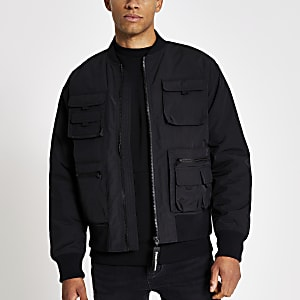 Schwarze Bomberjacke mit Utility-Taschen