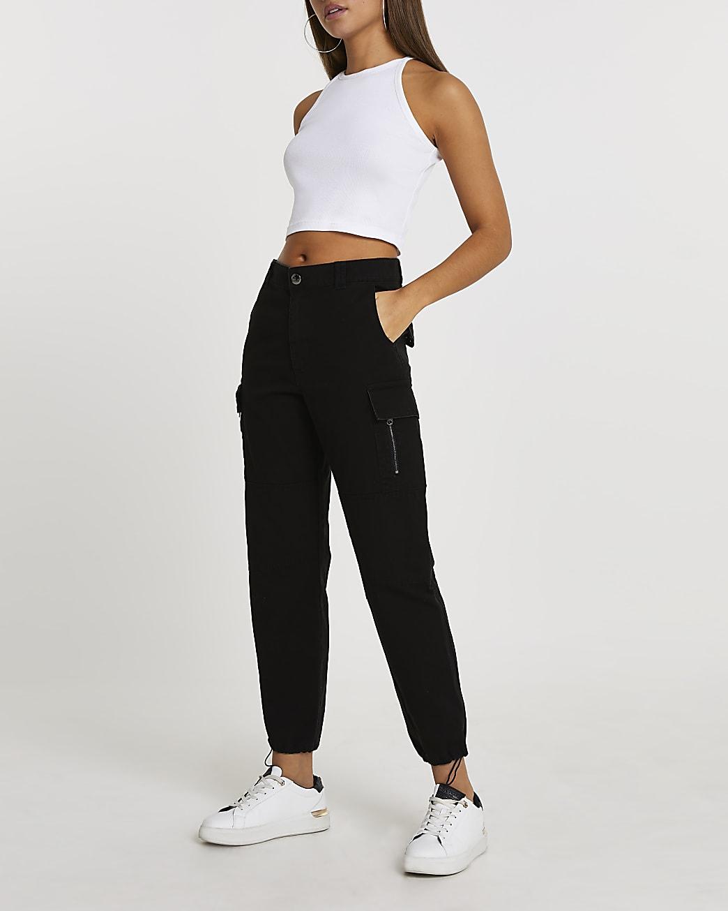 Black utility zip twill trouser