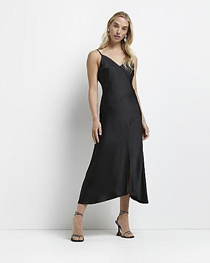 Black v neck asymmetric slip maxi dress