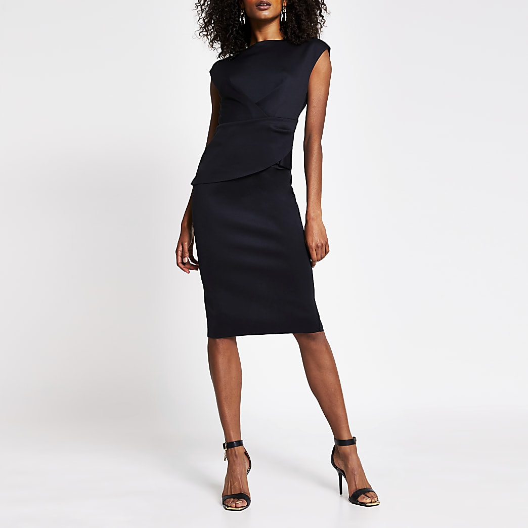 Black v neck bodycon midi dress