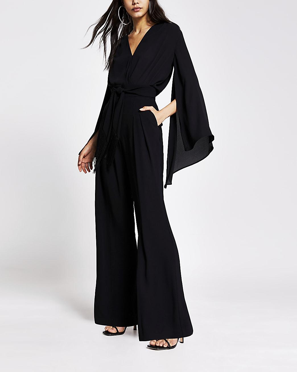 Black V neck kimono sleeve bodysuit